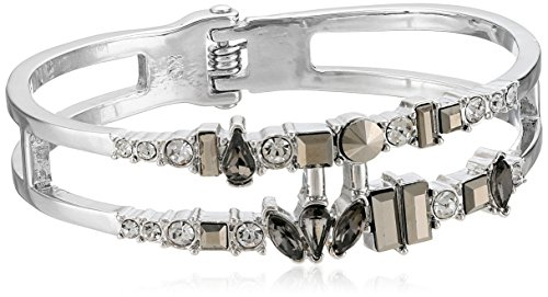 Kenneth Cole New York Bangle Bracelet - Kenneth Cole New York Stone Cluster Metallic Mixed Metallic Faceted Stone 2 Row Hinged Bangle Bracelet