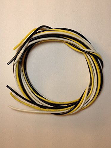 22 Ga Handy Pack of PVC Coated Guitar Wire 22 gauge Black - White - Yellow (15 Feet)