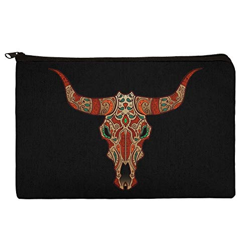 (Bull Skull Day Of The Dead Makeup Cosmetic Bag Organizer Pouch)