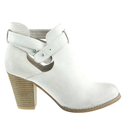 Angkorly - Scarpe da Moda Stivaletti - Scarponcini chelsea boots aperto stile vintage donna intrecciato tanga borchiati Tacco a blocco tacco alto 8 CM - Beige