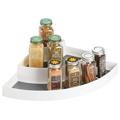 mDesign Plastic Spice and Food Kitchen Cabinet Pantry Corner Shelf Organizer - 3 Tier Storage - Compact Caddy Rack - Holds Spices/Herb Bottles, Jars for Shelves, Cupboards, Refrigerator - White/Gray