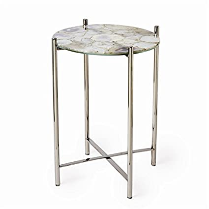 amazon com tozai white natural agate round side table with nickel rh amazon com agate side table uk agate side table west elm