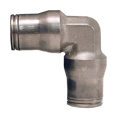 Legris 3602 62 00 Nickel-Plated Brass Push-to-Connect Fitting, 90 Degree Union Elbow, 1/2