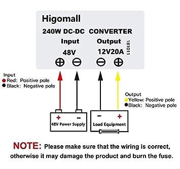 Higomall Voltage Converter Regulator Reducer DC 48V Step Down to 12V 20A  240W Waterproof DC/DC Buck Transformer for Golf Cart LED Light Bar Power
