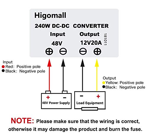Higomall Voltage Converter Regulator Reducer DC 48V Step