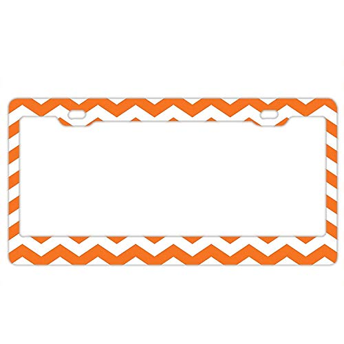 Personalized Novelty Front License Plate Covers Custom Vanity Decorative Aluminum Car Tag Halloween Pumpkin Color Chevron ()