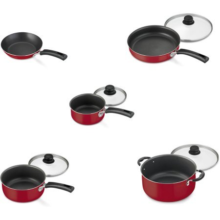 Nonstick 9-Piece Pots And Pans Cookware Set, Red