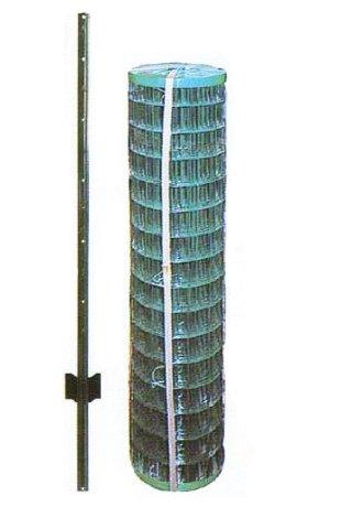 アニマルフェンス 1.5×15m フェンス(金網)と支柱11本のセット B00CU37L7K 22510