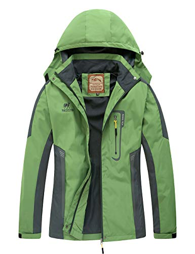 Diamond Candy Waterproof Rain Jacket Women Lightweight Outdoor Raincoat Hooded for Hiking Green XL