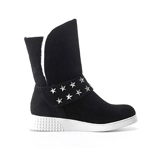 Allhqfashion Mujeres Low-top Pull-on Frosted Low-heels Round Botas Con Punta Cerrada Negro