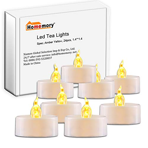 Homemory Pack of 24 Flameless LED Tea Light, Amber Yellow Flickering Bulb, Long Lasting Battery Operated Electric Votive Candle, Realistic and Bright Faux tealights Dia 1.4 -