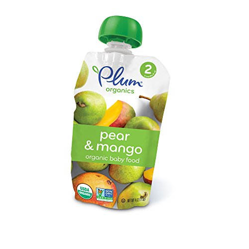 - Plum Organics Stage 2, Organic Baby Food, Pear and Mango, 4 ounce pouch (Pack of 12)