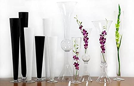 Open D-4.5 Height-20, Clear Color Pack of 1 CYS EXCEL Trumpet Vase Hand Blown Glass Pilsner Vases For Centerpiece
