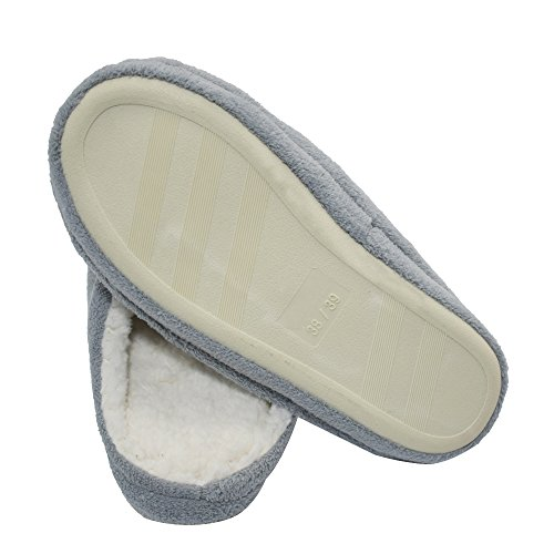 Q-plus Sherpa Traagschuim Comfortabele Dames-slippers Indoor Comfortabele Voet Antislip Rubberen Zool Grijs