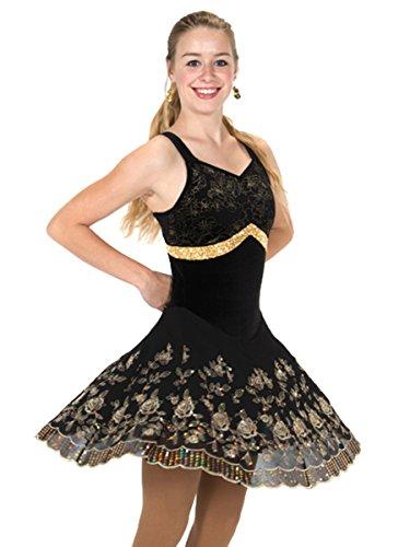 Jerry's Figure Skating Dress 254 (Adult Large, Black/Gold)