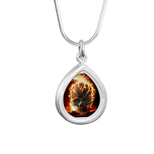 Royal Lion Silver Teardrop Necklace Flaming Skull - Flaming Skull Necklace