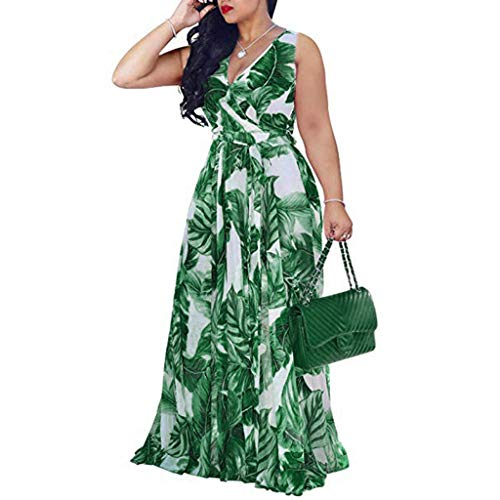 Women Wrap Swing Maxi Dress | Ladies Elegant V Neck Sleeveless Tank Long Dress with Belt Tie Waist | Summer Casual Empire Waist Dresses