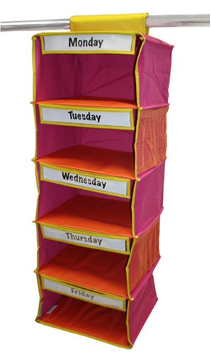 Kangaroom 5-Shelf Kids Clothes Organizer, Pink