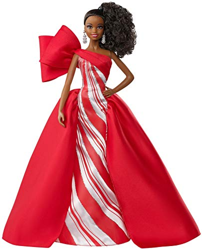 2019 Holiday Barbie Doll, 11.5-Inch, Curly Brunette, Wearing Red and White Gown, with Doll Stand and Certificate of Authenticity