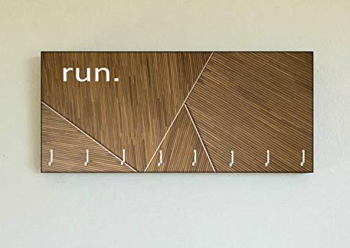 Race Medal Holder/Running Medal Hanger RUN Geometric Web- Wood Wall Mounted Medal Organizer. CUSTOMIZATION Available