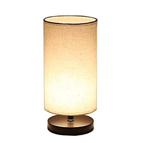 DEEPLITE Bedside Table Lamp, Desk Lamp, Nightstand Lamp with Solid Wood Base and Fabric Shade for Bedroom, Living Room, Dresser, Kids Room, Study, Coffee Table, Bookcase (Round) ()