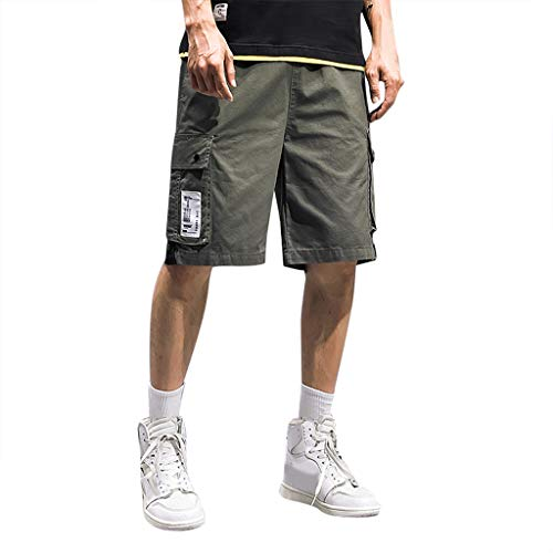 RoDeke Men's Sport Pure Color Button Casual Loose Sweatpants Drawstring Short Pants Army Green