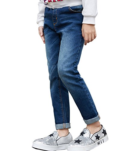 NABER Kids Girls' Casual Elastic Waist Denim Washed Jeans Size 9-10 Years by NABER