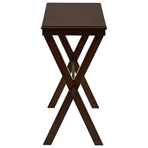 Ravenna Home Flush Mount Wood Cross Console Table, 15.75 W, Dark Brown Walnut