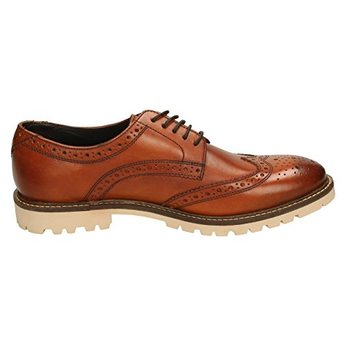 Mens Tan Base London Derby Smart Shoes Brogue Smooth Leather Raid Casual O5qqwxvS