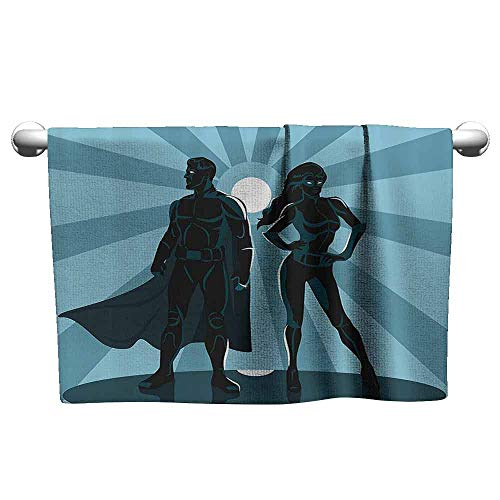 DUCKIL Gym Hand Towels Superhero Man and Woman Superheroes Costume with Masks and Capes Night Protector in Moonlight Bath Towel 3D Digital Printing Set 14 x 14 inch Blue Teal ()