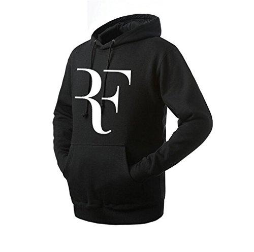 Unisex Roger Federer Wimbledon Hoodie (Black X-Large)