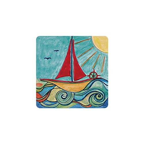 Art Square Coaster,Baby Boy Paintings Ship in the Waves of Ocean Sun Kids Girls Nursery Picture Decorative for Home,3.5