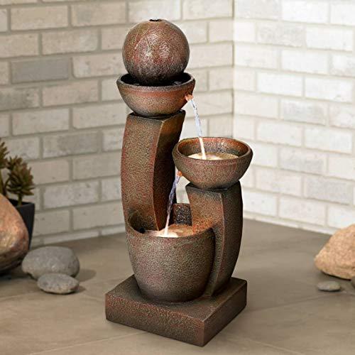 John Timberland Modern Curved Columns Zen Outdoor Floor Water Fountain with Light LED 31