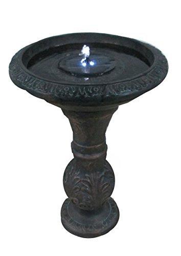 (Round Bronze Solar Fountain Solar Birdbath with LED Lights ASF317A)