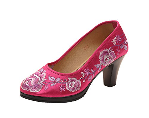 AvaCostume Womens Luxury Embroidery Satin High Heel Cheongsam Shoes Rose Red jMnzeCjl