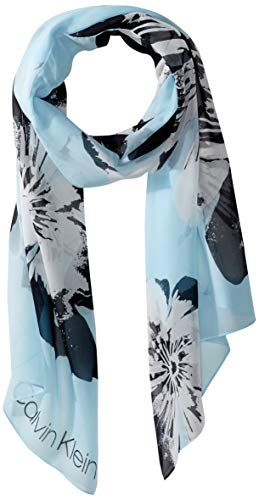 (Calvin Klein Women's Pop Flower Poly Chiffon Scarf, Pastel Blue, One Size)