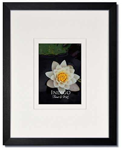 Set of 3 - 16x20 Gallery II: Black Hardwood Picture Frame with Clear Glass and Gallery Style Double White/White Wide Format Mat for 8x10 (3) by Gallery II