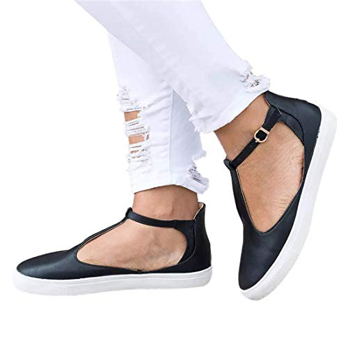 SNIDEL Womens Mary Jane Flats Shoes Casual Sandals Slip on Loafers Vintage T-Strappy Sneakers Black 9 B (M) ()