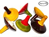 AzKrafts Wooden Handmade Spinning Tops for Kids Party Favors Wooden Toys (1.2 inch, 12 pack)
