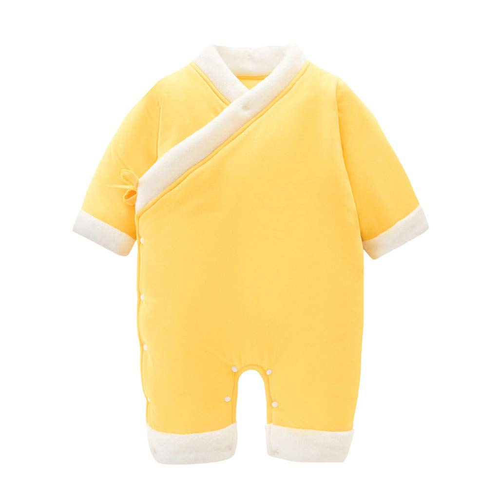 BFYOU Baby Onesies Thickening Autumn and Winter Clothes Baby Clothes Romper Romper Warm one-Piece Jumpsuit Pajamas Yellow by BFYOU_ Girl Clothing