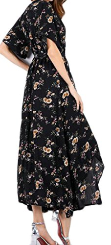 Slit Chiffon Womens Neck Beach 4 V Cromoncent Floral Print Summer Dresses Y1WB0q