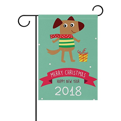 U LIFE Merry Christmas Dog Puppy 2018 Garden Yard Flag Banne