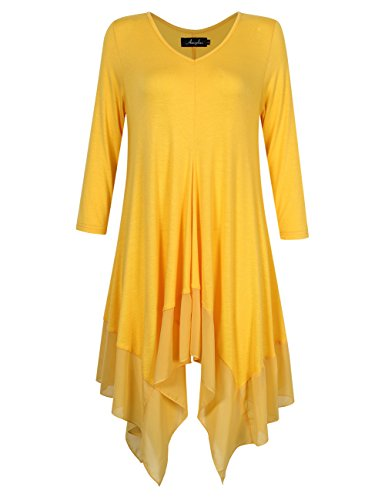 AMZ PLUS Womens Plus Size Irregular Hem Short Sleeve Loose Shirt Dress Top