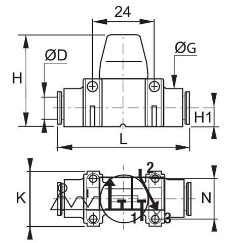 Legris 7913 04 00 Composite Mini Ball Valve 4 mm Tube OD 3-Way