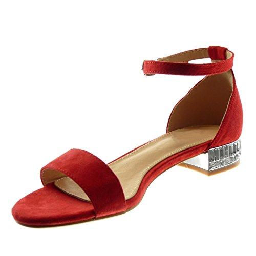 Con Donna Scarpe Caviglia Cinturino Moda Tanga A Strass Angkorly Alla Sandali Tacco Rosso Cm Blocco 2 5 qtWdn0