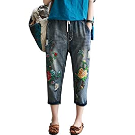 Duberess Women's Denim Jeans Trousers 100% Cotton Loose Pants with Embroidery (M-L)