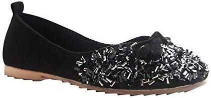 レディース カジュアル 閉鎖 バレエ - 弓 スリップオン バレリーナ フラット スパンコール ドーリー パンプス ソフトボトム オフィス ローファー ボートの靴