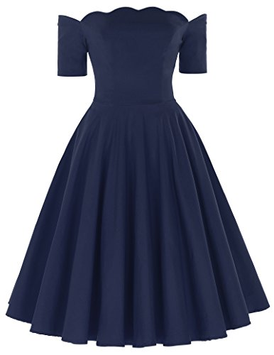 PAUL JONES 50s Style Audrey Hepburn Pinup Dresses For Women Party Cocktail Dress (Navy Blue, S) (Audrey Scalloped)