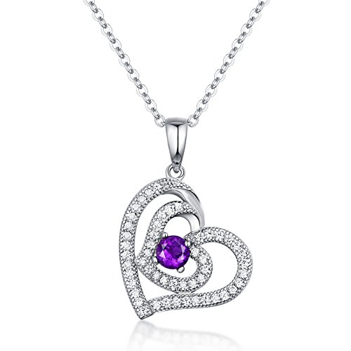 Fine Jewelry Pendant Necklace Sterling Silver and Gemstone Round Amethyst Double heart Pendant Necklace Birthday & Anniversary Gifts for Women for ()