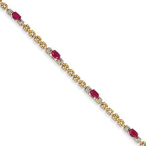 14k Fancy Diamond & Ruby Bracelet, 14 kt Yellow Gold, 7 inch 14k Yellow Gold Ruby Bracelet